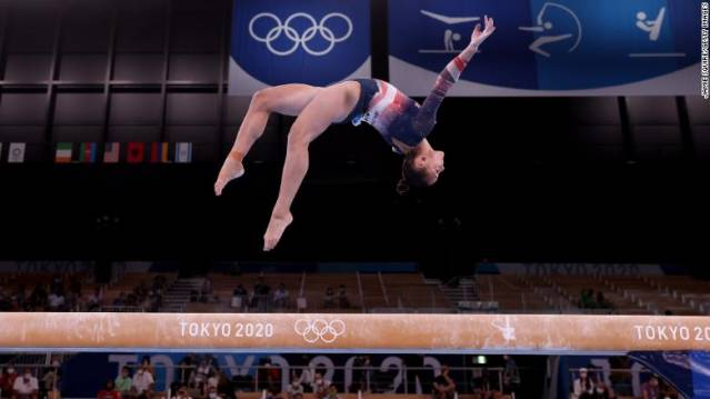U.S. Olympian Sunisa Lee en route to winning a Gold Medal at the 2020 Olympics in Tokyo on July 29, 2021.