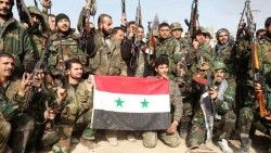 syrian soldiers with flag