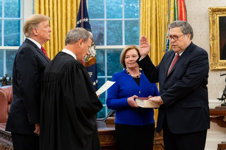 william barr swearing in wife djt roberts