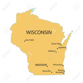 wisconsin map with largest cities Custom