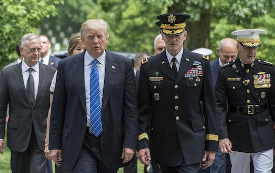 President Trump with U.S. Army Major Gen. Michael Howard, center, with Defense Sec. Jim Mattis, left, and Joint Chiefs of Staff Chairman Joseph Dunford at Arlington National Cemetery on May 29, 2017 (Department of Defense photo).