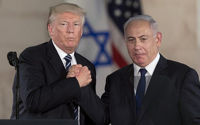 Donald Trump and Benjamin Netanyahu in Jerusalem at the Israel Museum on May 23, 2017 (AP photo by Sebastian Scheiner).