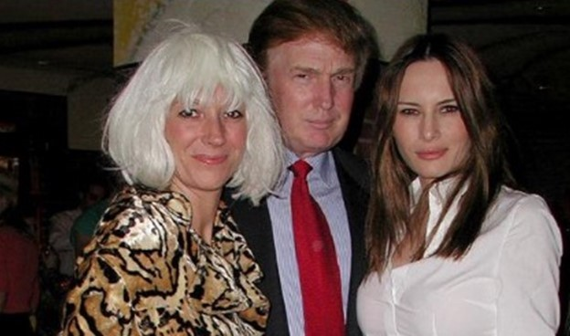 Ghislaine Maxwell, left, Donald Trump and future First Lady Melania Trump