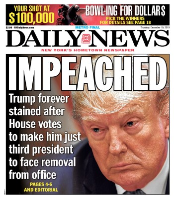 djt impeached nydailynews cover dec.19 2019 Custom