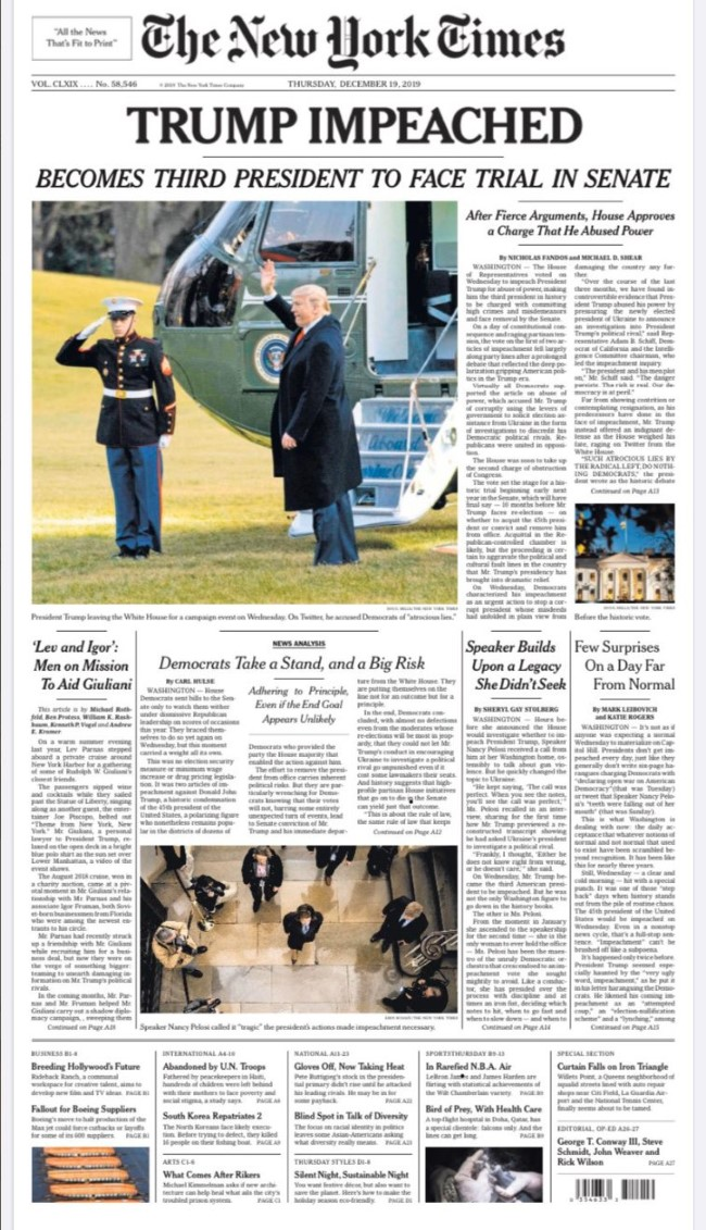 djt impeached nytimes front page Custom 2