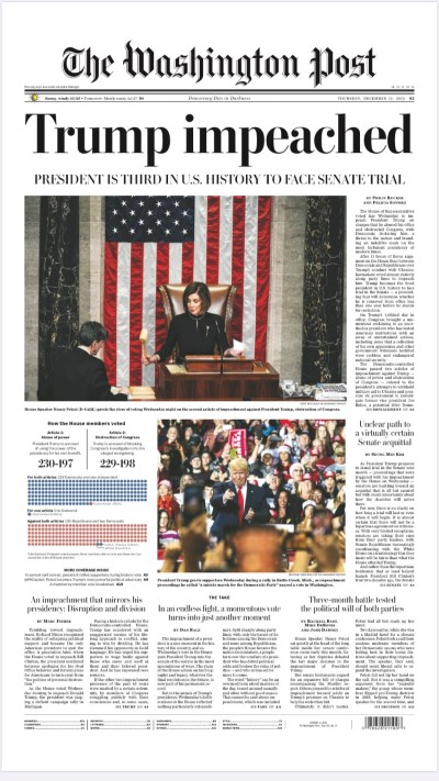 djt impeached wapo 12 19 19 front page Custom