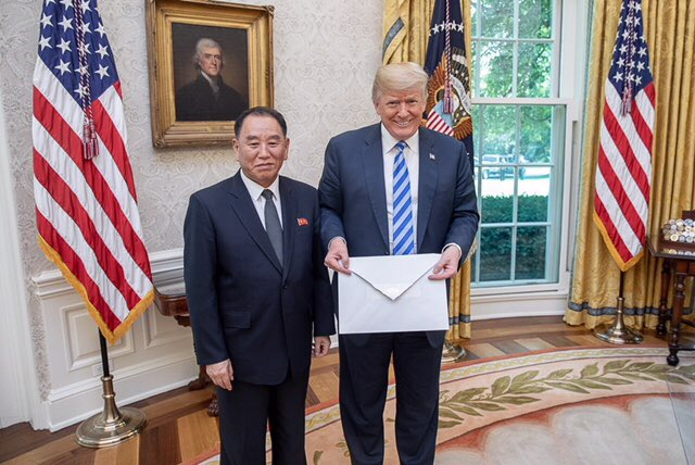 President Trump with Kim Yong Chol at the White House on June 1, 2018