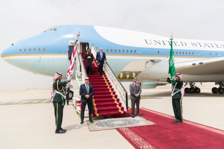 Donald and Melania Trump descend from Air Force One into Saudi Araba as first stop on the president's initial overseas trip in 2017 (White House photo by Shealah Craighead).