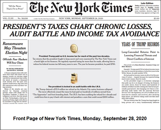djt nyt front page on taxes sept 28 2020
