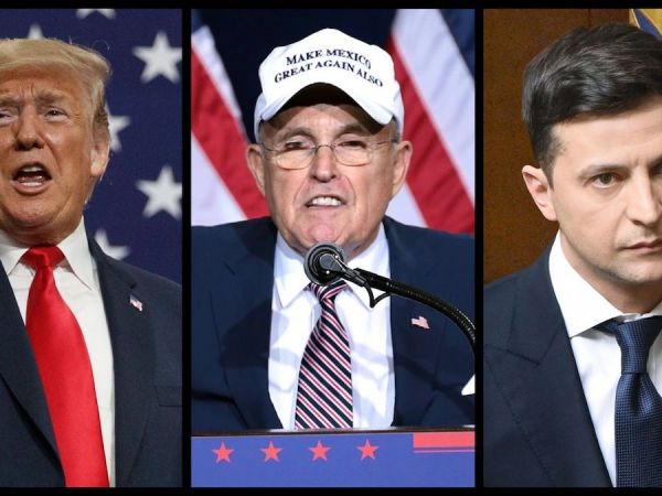Donald Trump, Rudy Giuliani and Vlodomyr Zelensky (file photos, left to right)
