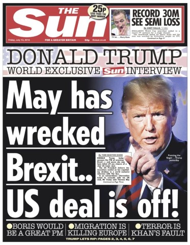 djt theresa may sun front page 7 13 18 Small