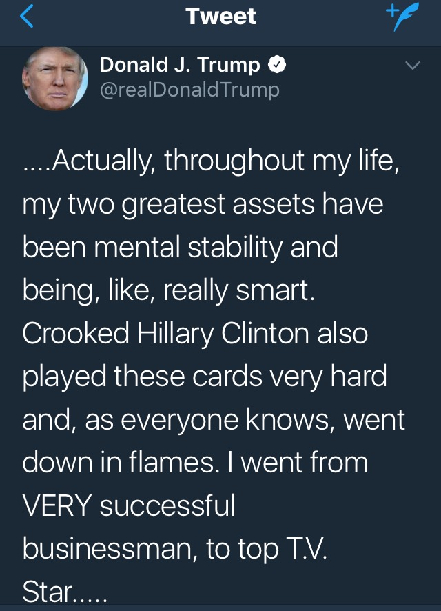 djt tweet on brilliance 1 6 18
