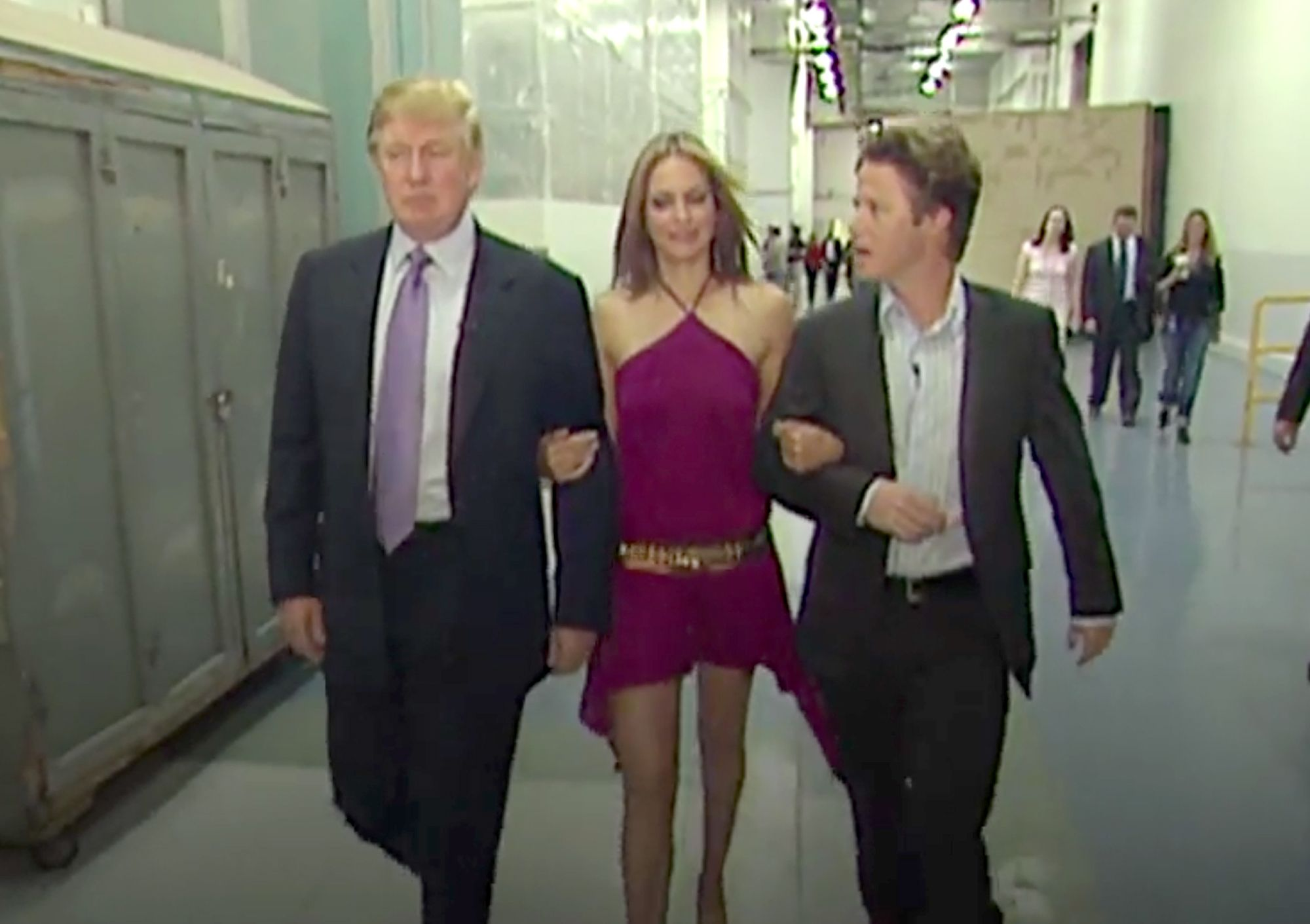 Donald Trump, Arianne Zucker, Billy Bush in screenshot from Access Hollywood tape