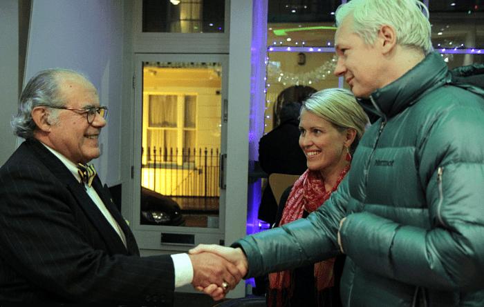 Julian Assange, Marcello Ferrada de Noli and Jennifer Robinson, London 2011