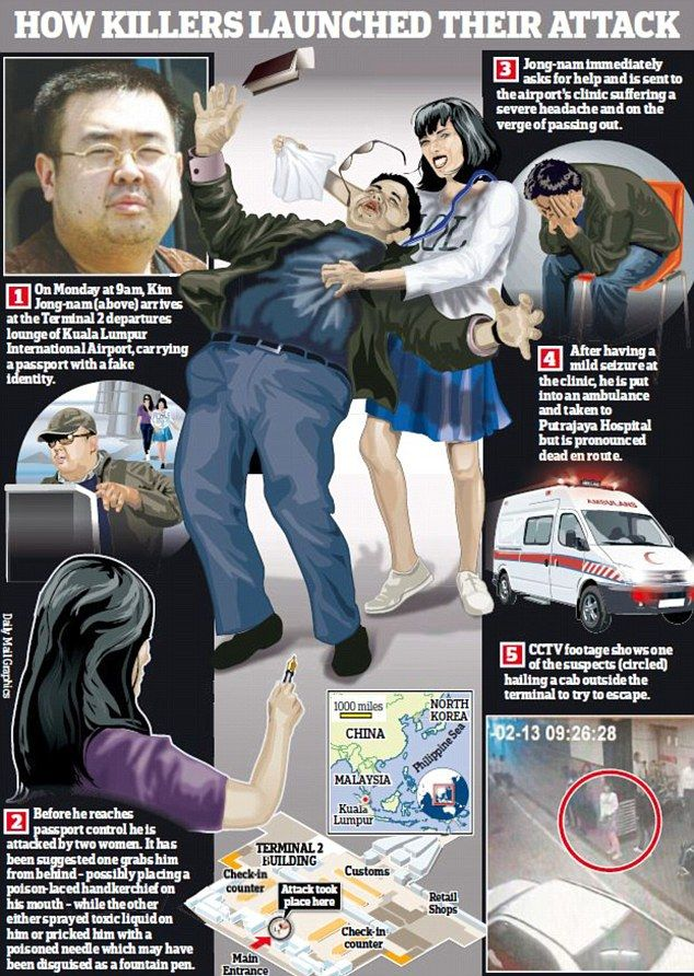 Artist's portrayed of fatal airport poisoning in Malaysia of North Korean leader's half-brother (Graphic by Daily Mail)