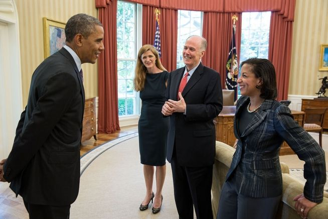 President Obama with Samantha Power (center), Tom Donilon and Susan Rice