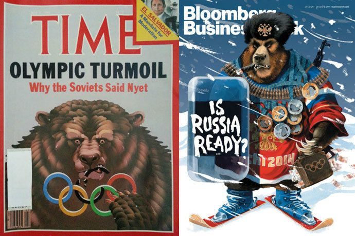 Sochi Olympics Comparison of Time and Bloomberg Covers