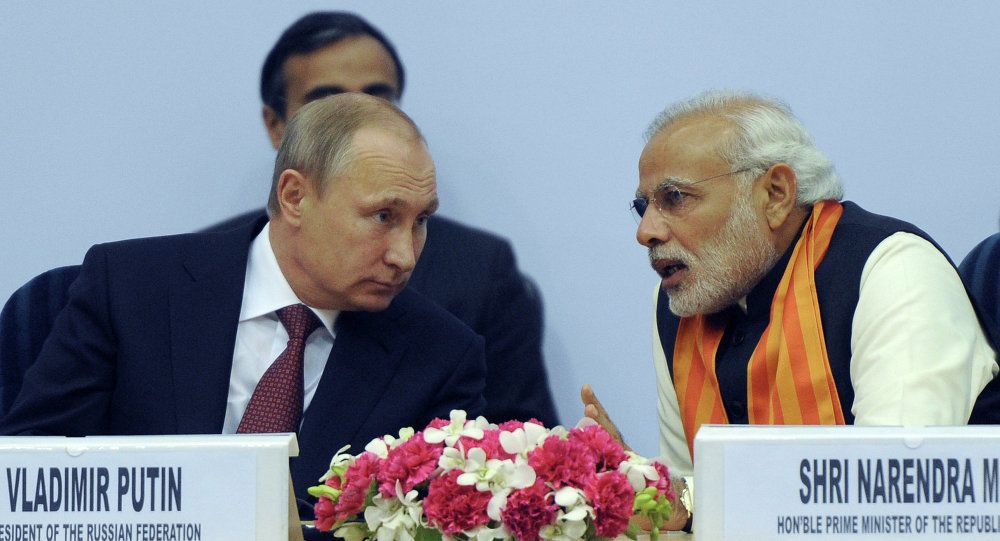Vladimir Putin and Narendra Modi Dec. 11, 2014 in New Delhi. unknown_source.