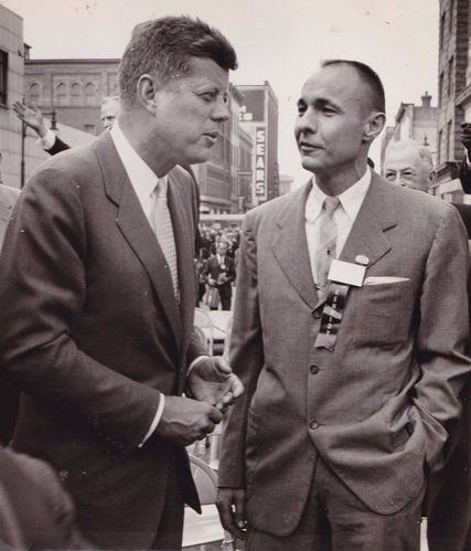 William Liebenow with John F. Kennedy during the 1960 presidential campaign. Both skippered PT boats during World War II