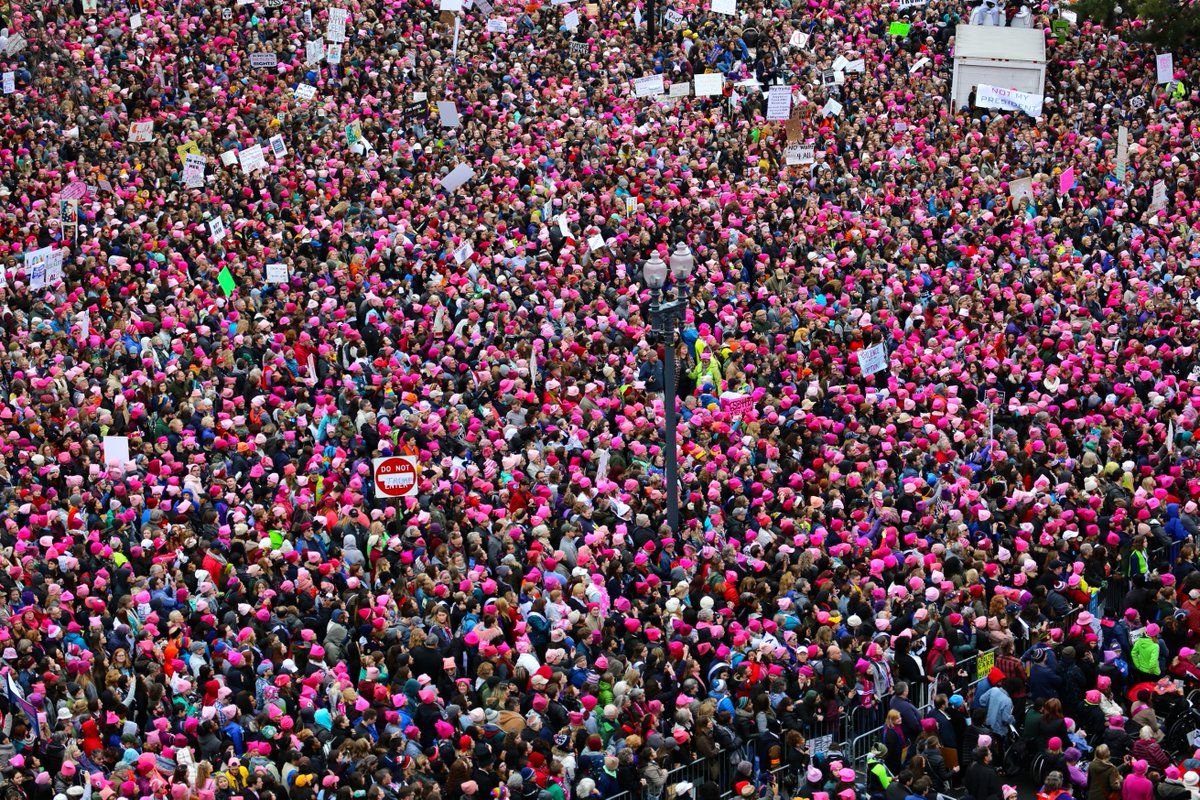 2017 Women's March, Jan. 21, 2017 (Photo by Jim Fry of Voice of America from VOA HQ via Twitter)